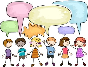 Kids talking speech bubble cartoon